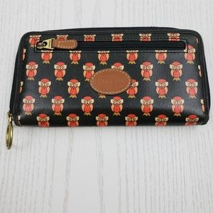 Fossil Clutch Wallet Black Orange Owl Print 4 x 8